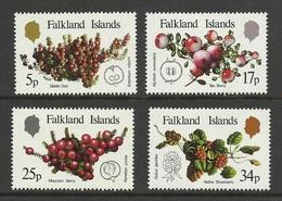 Falkland 1983 Yv 395/398 ** Fruits Indigenes  Fruit Empetrum Rubrum Myrteola Nummularia  Pemettya Pumila Rubus Geoides - Falkland Islands