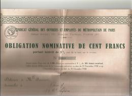 Syndicat General Des Ouvriers Du Metropolitain A Paris Obligation De 100francs N°1103 - Ferrovie & Tranvie