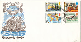 Tristan Da Cunha FDC Complete Set Of 4 Centenary Of H.M.S. Challenger's Visit 15-10-1973 With Cachet - Tristan Da Cunha