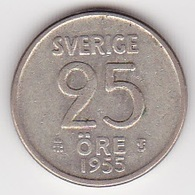 25 Öre Münze Aus Schweden (vorzüglich) 1955 Silber - Schweden