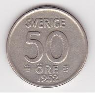 50 Öre Münze Aus Schweden (vorzüglich) 1952 Silber - Schweden
