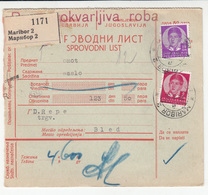 Yugoslavia Slovenia Parcel Card 1938 Maribor To Bled B180420 - Slovenia