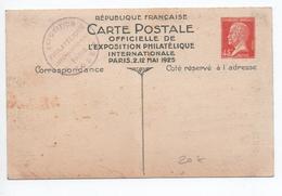ENTIER PASTEUR CARTE OFFICIELLE DE L'EXPOSITION PHILATELIQUE PARIS MAI 1925 - Cartes Postales Types Et TSC (avant 1995)
