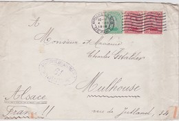 BELGIQUE 1918 LETTRE CENSUREE DE BRUXELLES POUR MULHOUSE - 1915-1920 Alberto I