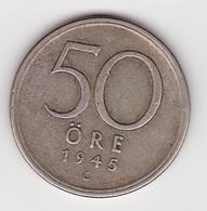 50 Öre Münze Aus Schweden (vorzüglich) 1945 Silber - Schweden
