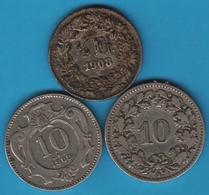 LOT 3 COINS : AUSTRIA - SUISSE 1903 - 1909 - Monete & Banconote
