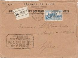 TUNISIE  Lettre Recommandée N° 132 Cachet TUNIS 4/2/1928  Pour Sfax - 1 ère émission Timbres Pro Juventute - Covers & Documents