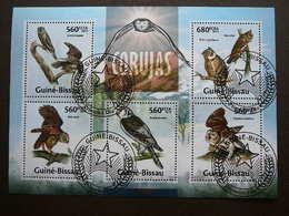 Owls. Eulen. Les Hiboux # Guinea-Bissau # 2013 Used S/s #  Birds - Owls