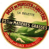 GF 15 -ETIQUETTE DE FROMAGE -  PATE DE MUNSTER & GRUYERE  LA BELETTE  FABRIQUE EN ALSACE - Cheese