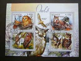 Owls. Eulen. Les Hiboux # Uganda # 2012 Used S/s #  Birds - Owls