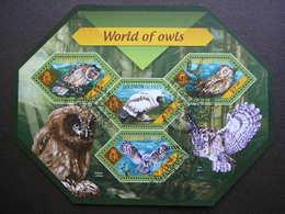 Owls. Eulen. Les Hiboux # Solomon Islands # 2014 Used S/s # Birds - Owls