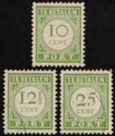 ~~ Curacao 1945  - Port Postage Due - Numerals - NVPH  P31/P33 (o) - CV 95.00 Euro  ~~~ - Curaçao, Nederlandse Antillen, Aruba