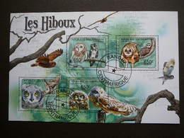 Owls. Eulen. Les Hiboux  # Central African Republic # 2011 Used S/s # Birds - Owls