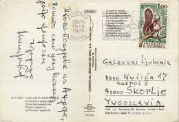 Andorra - French Andorra Postcard Via Macedonia 1979 Maps - Nice Stamp Motive - Nature Protection.animals.Squirrels - Andorre Français
