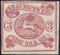 GERMANY BRUNSWICK 1853 3s ROSE Nº 10 - Brunswick