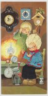 JOLIE CARTE BRODEE SIGNEE LURIA .ENFANTS PENDULES REVEILS CHAT LAMPE SABLIER - Brodées