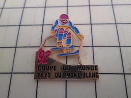 Pin415a Pin's Pins / Beau Et Rare / SPORTS : SKI COUPE DU MONDE 1992 PAYS DU MONT-BLANC Pistache Ou Vanille ? - Winter Sports