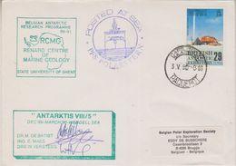 British Antarctic Territory 1990 Belgian Antarctic Research Programme 3 Sign. Cover (38397) - British Antarctic Territory  (BAT)