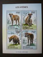 Hyenas Hyänen Hyènes # Ivory Coast  # 2014 Used S/s # Mammals Animals - Big Cats (cats Of Prey)