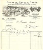 FACTURE 1928 H. JARDIN ISIGNY CALVADOS PATURAGES BESSIN COTENTIN BEURRE FRAIS & SALÉ - LOGO USINE - Alimentaire