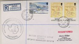 British Antarctic Territory 1987 Registred Cover Rothera, Ca Rothera 25 Fe 87 (38399) - Brits Antarctisch Territorium  (BAT)