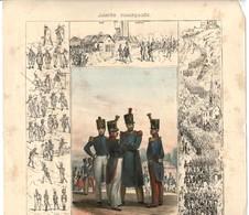 """XIXe MILITARIA  GRAVURE ANCIENNE. L'Armée Française: """" L'INFANTERIE"""" Bcp De Détails, De Précision ( De L'An 420 à 1830) - Documents"""