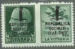ITALIA REGNO ITALY KINGDOM REPUBBLICA SOCIALE RSI 1944 PROPAGANDA DI GUERRA FASCIO DOPPIO CENT. 25c III MNH FIRMATO - 4. 1944-45 Repubblica Sociale