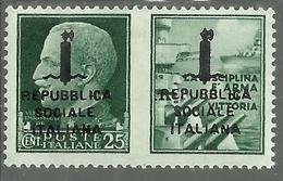 ITALIA REGNO ITALY KINGDOM REPUBBLICA SOCIALE RSI 1944 PROPAGANDA DI GUERRA FASCIO DOPPIO CENT. 25c I MNH FIRMATO - 4. 1944-45 Repubblica Sociale