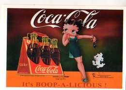 Carte PUB Coca Cola Et Betty Boop N°2, Telephone, Petit Chien - Publicité