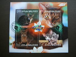 Cats. Katzen. Chats # Maldives # 2014 Used S/s # Domestic Cats - Chats Domestiques