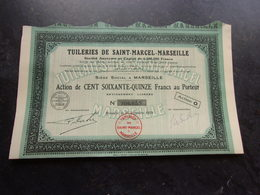 TUILERIES DE SAINT-MARCEL-MARSEILLE (175 Francs) 1929 - Shareholdings