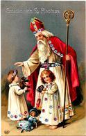 CPA Saint Nicolas Père Noël Gaufré écrite Ours En Peluche Teddy - Nikolaus