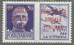 ITALIA REGNO ITALY KINGDOM REPUBBLICA SOCIALE RSI 1944 PROPAGANDA DI GUERRA FASCIO DOPPIO CENT. 50c III MNH FIRMATO - 4. 1944-45 Repubblica Sociale