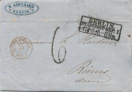 LETTRE 1860 AVEC CACHET D'ENTRÉE ROUGE PRUSSE FORBACH AMB. C - Marcofilia (sobres)