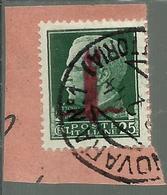ITALIA REGNO ITALY KINGDOM 1944 RSI IMPERIALE CENT 25 OVERPRINTED RED FASCIO ROSSO USATO USED OBLITERE' - Oblitérés