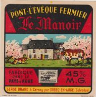 """Vieux Papier : étiquette  Fromage """" Le Manoir """" Pont L ' Eveque Fermier , A CERNAY Par ORBEC En AUGE , S. Brard - Cheese"""