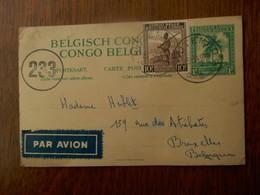 PAR  AVION                     Postkaart  Belgisch CONGO  Naar Brussel Belgie  1945 - Congo Belge - Autres