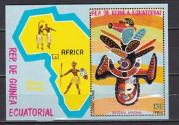 Equatorial Guinea, Ethnography, Masks, Map, Block, MNH** - Guinea Ecuatorial