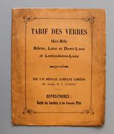 Catalogue Tarif Des Verres De Lunettes The Uni Bifocal Copany Limited - Do-it-yourself / Technical