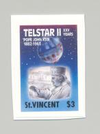 St Vincent #1169 Telestar II, Space, Pope 1v Imperf Proof Changed Date - St.Vincent (1979-...)