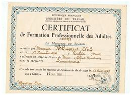 CERTIFICAT DE FORMATION PROFESSIONNELLE DES ADULTES HABITANT ROUBAIX (NORD) 14 AOUT 1959 - Diploma & School Reports
