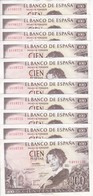 10 BILLETES CORRELATIVOS DE 100 PTAS 19/11/1965  SERIE I EN CALIDAD EBC+  (BANK NOTE) ADOLFO BECQUER - [ 3] 1936-1975 : Régimen De Franco