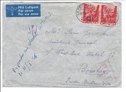SUISSE SCHWEIZ Lettre De 1946 Envoyé De Petit-Lancy à Bombay (Inde) Avec O.A.T . Rouge De Londres - Poststempel