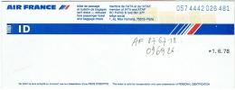 Ticket/Billet D'Avion. Air France. Dakar/Paris/Bruxelles/Paris/dakar. 1978. - Plane Ticket