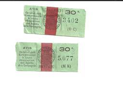 2 Tickets Anciens. Cie Des Tramways De ROUEN. 1 Aller Et 1 Retour.  Voir Description - Tram
