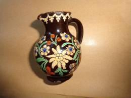 Vase Ancien Hauteur 8cm -decor Edelweiss Et Fleurs Des Montagnes - Other Collections