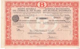 Société Nationale Des Chemins De Fer Belges - SNCB - Titre De 10 Actions De Jouissance - Titre De 1937 - Feuille Entière - Industrie