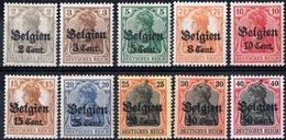 BELGIO, BELGIUM, OCCUPAZIONE TEDESCA, GERMAN OCCUPATION, 1918, NUOVI (MLH*) Michel 10-15,17-19    Scott N10-N15,N17-N19 - Allemagne