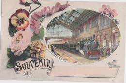 Bn - Cpa Souvenir (avec Un Train à Vapeur En Gare) - Trains