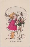 Bn - Cpa Illustrée Fernon - Bonne Année (fillette Et Chien) - Tuck - Illustrators & Photographers